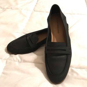 lucky Brand Caylon Black Leather Slip On Loafers